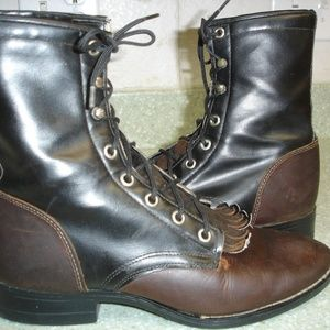 Shoes - womens texas leather lace-up ankle boots size 5.5d